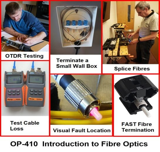 A one day fibre training course Introduction to fibre optics showing various activities including splicing, testing and terminating