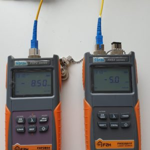 Optical Power meter and optical light source. These are used to test the loss of an optical link