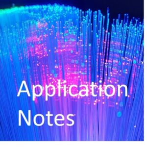 Picture of blue and purple gowing optical fibres with words Application Notes in white