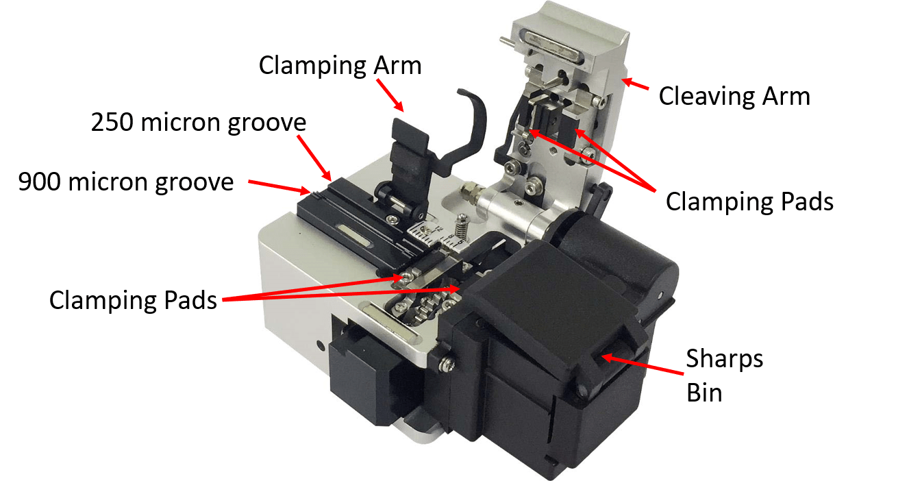 ci-03bt fibre cleaver with autorotating blade produces 75,000 cleaves and no manual adjustment is necessary. This view shows the open mechanism with Clamping arm, cleaving arm, v grooves and fibre sharps collector